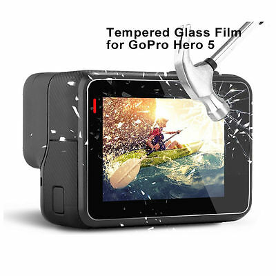 Tempered Glass Screen Protector For GoPro Go Pro Hero 5 Lens + Lcd Screen Set