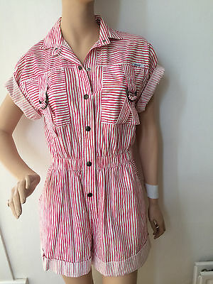 Vintage striped 80's playsuit Retro jumpsuit Size M