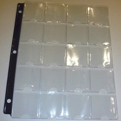 COIN STORAGE FOR 3-RING BINDER - 10 PAGES - 20 POCKETS FOR 2x2's - BLUE STRIP