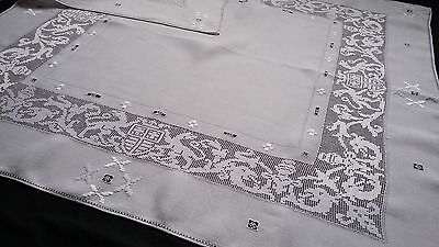 Linen square tablecloth with amazing embroidery of lions crowns coat of arms