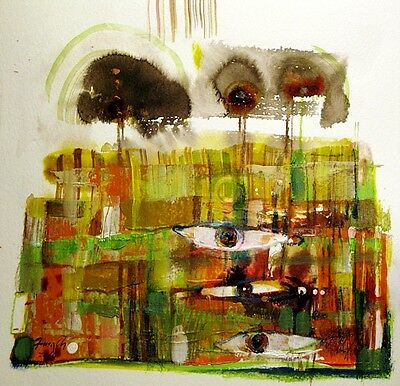 small abstraction acrylic ink original painting landscape with imagination
