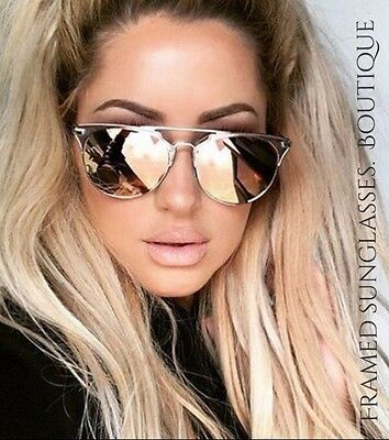 LUXE ROSE Gold PINK Reflective MIRRORED AVIATOR SUNGLASSES Celebrity STYLE