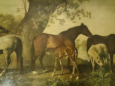 Oleograph (overpainted print) Horses and Foals by George Stubbs