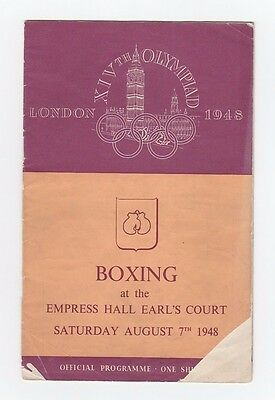 Orig.PRG    XIV.Olympic Games LONDON 1948  /  BOXING  07.08.1948  !!  VERY RARE