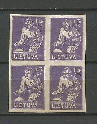 Lithuania Litauen 1921 MH/MNH Mi 88 Sc 98 Sower issue imperforated block of four