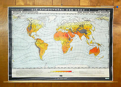 Climate Wall Map Justus Perthes Rudolf Geiger Total Annual Short Wave Radiation