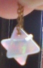 Tiny Opalite Merkaba Star (3D 6 Pointed) Pendant, Gold Bonded On Silver Chain