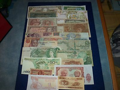 Bundle Lot Of 20 X Banknotes British/china//italy/brazil/egypt/russia/spain Ect