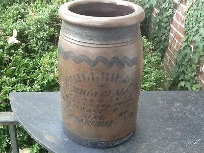 E J Miller & Son Half Gallon Stoneware Blue Decorated Crock Alexandria Va N.mint