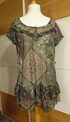 Ladies Wallis green paisley print scoop neck tunic top, size M medium (14-16)