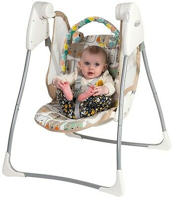 Graco Baby Delight Bow Tie Bear Swing Chair Bouncer Rocker Safety Seat 2 Speeds
