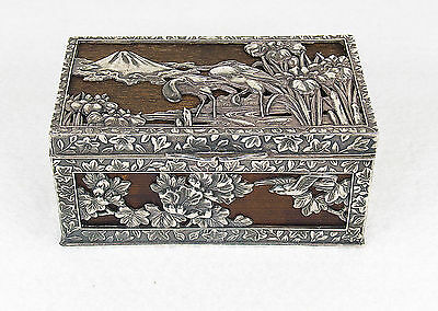 Antique Meiji Japanese Silver Box Cranes Irises Mt Fuji