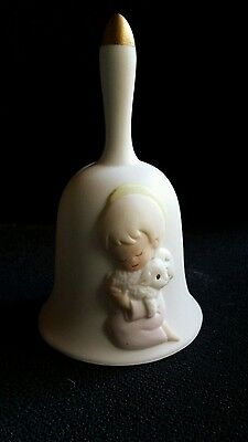 """Ceramic Bell With Gold Tip Handle 5.25"""" : Angel Hold Lamb """""""