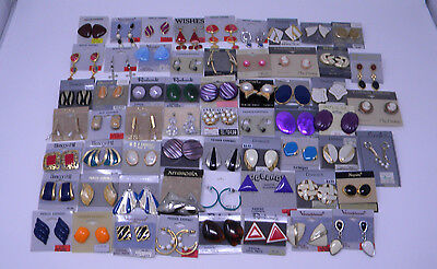 Lot of 60 Pairs of Costume Earrings New with Tags featuring Trifari,Napier,Monet