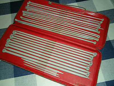Vintage Aero Knitting Needle Case In Red With 14 Pairs Of Knitting Needles 30Cm