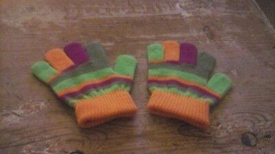childrens acrylic striped gloves