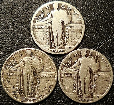 Lot of 3 Standing Liberty 90% Silver Quarters 1925 1926 1927