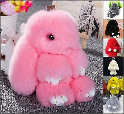 Real Bunny Rabbit Fur Keychain Ring Key charm Purse handbag Car Pendant
