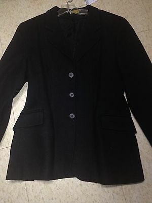 DEVON AIRE Wool L'CORD Hunt COAT *Girls 8R *BLACK  Beautiful