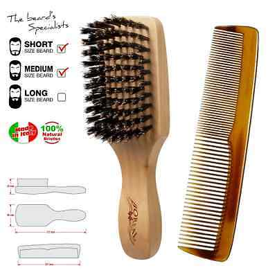brosse a barbe et peigne moustache. Brush and comb for beard made in Italy.