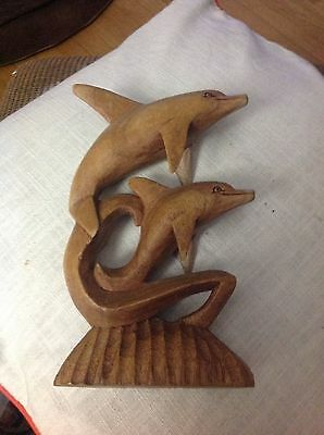 DOLPHIN & BABY CARVED wood  STATUE FIGURINE DECORATION