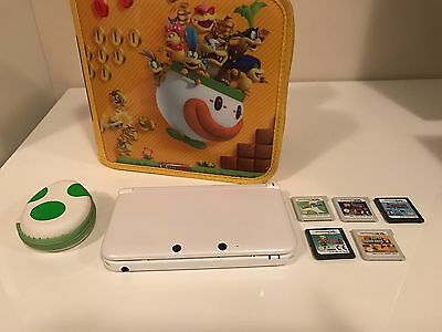 Nintendo 3DS XL (White) With Case and 5 Games!