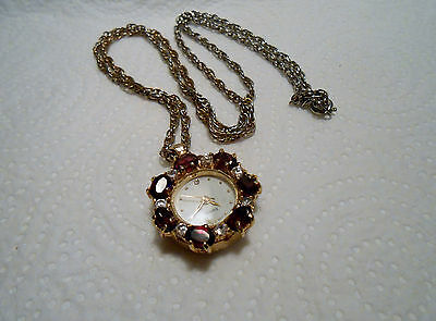Pendant Watch, Pretty Gold Coloured With Red & Silver Stones, Japan Movement.