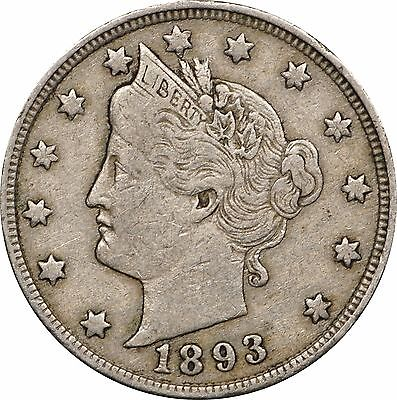 1893 Liberty V Nickel, Very Fine VF