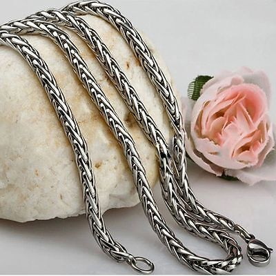 Men Women Silver Stainless Steel Titanium Braided Necklace Chain Rope