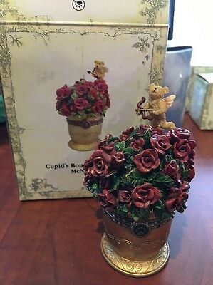 "Boyd's Bears Uncle Bens Treasure Boxes ""Cupids Bouquet W/ Petals"" Resin Figurine"