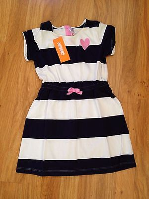 NWT Gymboree Girls Embroidered Heart Striped Dress Navy White Stripes- Size 5 -6