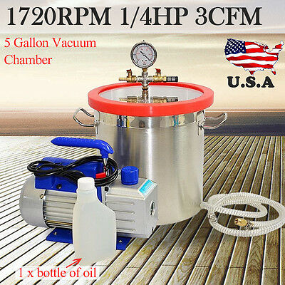 5 Gallon Stainless Steel Vacuum Degassing Chamber Silicone Kit w/3 CFM Pump Hose