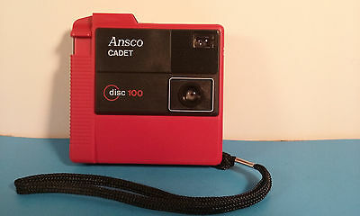 Ansco Cadet 100 Disc Camera - Red - EXCELLENT CONDITION