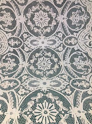 ANTIQUE CREAM  NEEDLE LACE POINTE DE VENISE TABLECLOTH 63.in By 96 in