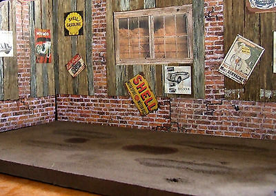 Superb old barn real wooden planks wall to display kit & die cast model car 1/24