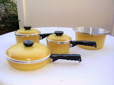 Never Used Antique Vintage Harvest Gold Club Aluminum Sunray Holiday Cookware