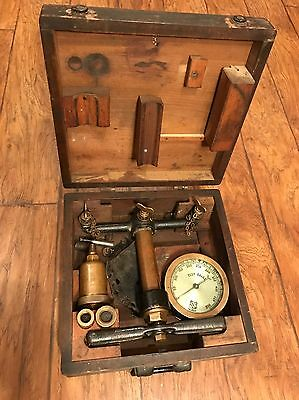 Ashcroft Steam Test Gauge Indicator Heavy Brass Wooden Box Early 1900's Train