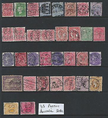 Australian States Perfin Lot: 33 different Private & Official: OS, D&JF, GR, SA