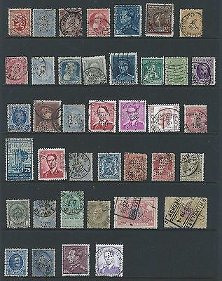 Belgium Perfin Lot of 39 different stamps. Includes BA, CL, FC, Star, 4, WAUQUEZ
