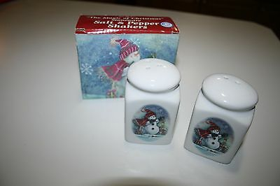 Giftco THE MAGIC OF CHRISTMAS SNOWMAN STONEWARE SALT & PEPPER SHAKER SET