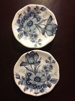 Blue Floral England Fine Bone China Butter Pat Plates Pair (2)