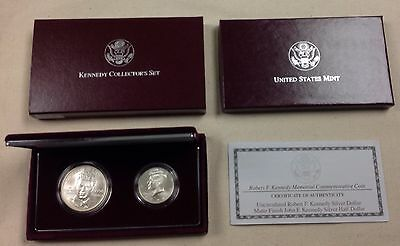 1998 US Mint Kennedy Collector's Set Commemorative Two Coin Set - Unc w/ Matte
