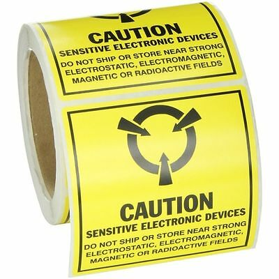 "Brady SL-5 ""Caution Sensitive Electronic Devices"" Awareness Sticker Labels 4 x 4"