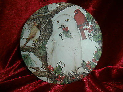 Antique~Vintage~Old~Snow Owl~Snowy Owl~Candy Cookie Tin~Christmas Winter Decor