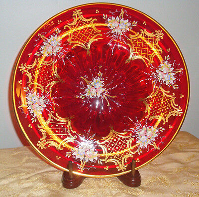 Vintage Venetian Glass Centerpiece Bowl Ruby Red Murano Glass Signed Barbini 13""