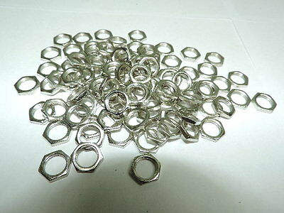 """Pack of 100 Panel Nut 3/8x32,Hex Steel Nickel Plated 3/8"""" thread dia 3/32"""" thick"""