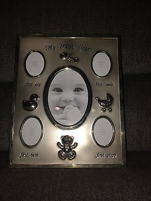 """Sterling Silver Baby Photo Frame My First Year 9"""" x 11"""""""