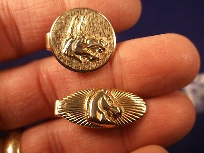 """#2 of 3, LITTLE VTG YELLOW GOLD TONED TIE/SCARF CLIP """"ROMAN HORSE HEAD"""" STYLE?"""