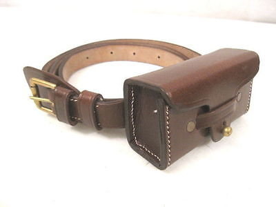 WWII Japanese Type 14 or 94 Leather Pistol Belt w/Ammo Pouch - Reproduction