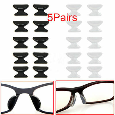 5 Pair Soft Stick On Silicone Nose Pads Eyeglass Sunglasses Glasses Spectacles F
